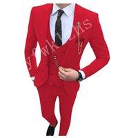 Classic One Button Wedding Tuxedos Peak Lapel Slim Fit Suits For Men Groomsmen Suit Prom Formal (Jacket+Pants+Vest+Tie) W762