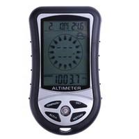 8 em 1 Electronic Handheld Compass Altímetro Barometer Termômetro Tempo Tempo Tempo Calendário Relógio com Bontos de Luz de Fundo