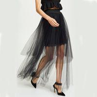 Skirts 2021 Spring Black Irregular Sexy Long Tulle Skirt Women See Through High Waist Mesh Transparent Faldas Mujer Moda