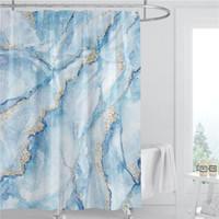 Mermer Desen Duş Perdesi 180 cm Polyester Kumaş Su Geçirmez Banyo Dekorasyon Yaz 3D Baskılı Duş Perdesi Kanca ile BWD5246