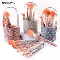 Makeup Brushes 8pcs Set Make Up Brush With Bag Box Diamond Holder Cosmetic Tools Glitter Eyeshadow Eyebrow