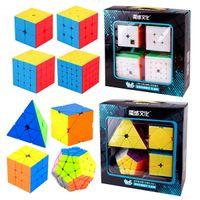 Moyu Meilong Skew Bundle 4 pz / Set regalo Pack Magic Cube Mofangjiaoshi 4pcs Cubi di imballaggio Speed Cube Puzzle Giocattoli educativi L0226