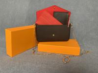 Hohe Qualität Mode Geldbörse mit Metallkette Frauen Umhängetaschen Dame's Abendtasche Handtasche Brieftasche 3in 1 Leder Crossbody Bag 61276 21 cm