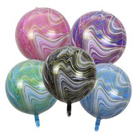 22 inç Yüzer Akik Mermer Dekorasyon 4D Alüminyum Balon Düğün Doğum Günü Partisi Alışveriş Merkezi Etkinlikleri 5 / Paket