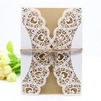 1pcs 화이트 레이저 잘라 우아한 웨스트 카우보이 빈티지 결혼식 초대장 카드 키트 빈 종이 인쇄 파티 웨딩 장식 용품
