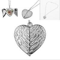 Skrzydło Otwierany Naszyjnik Sublimacja Półki Love Heart Wisiorki Łańcuch Angel Miłośnicy Charms Biżuteria Akcesoria Stop Cynkowy Walentynki