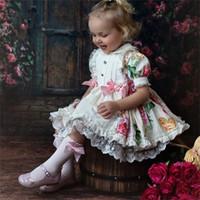 Kinder Boutique Spanische Blumenkleider für Baby Mädchen Türkei Vintage Kühlschlüsse Infant Taufgleiden Kleinkind Vestido 210303