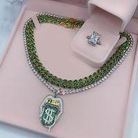 Oced Out Bling 5A CZ Сексуальный рот кулон ожерелье доллар символ микропролет капает губы серебряный цвет теннис хип-хоп женщины