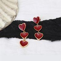 Dangle & Chandelier Fashion Minimalist Red Heart Earrings Statement Boho Cute Drop Earings Korean Designer Earring For Women