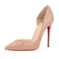 Black desnudo patente de cuero / brillo zapatos de mujer rojo inferior Iriza zapatos, Italia mujeres lujosas solas rojas runbber tacones altos sin lado vestido de fiesta sin piso / tacones súper