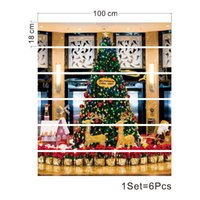 SLT021 COMPRAS de compras Árbol de Navidad Simulación 3D Sistema Pegatina Impermeable Moda Creativo Paso Decoración 6pcs * 100cm * 18.5cm
