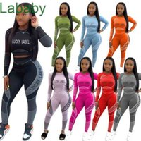 Women Tracksuits Two Piece Set Designer Line Stitching Letter Printed Long Sleeve T Shirt Pencli Pants Casual Ladies Sports Suits 8 Colours