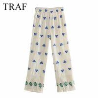 Женские брюки CAPRIS TRAF Одежда 2021 повседневные эластичные негабаритные карманы Vintage Vight Leas High Wasit прямые брюки офисная леди