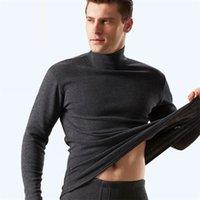 Тепловое белье с высоким уровнем выжимания среднего возраста плюс бархат утолщение мужской хлопчатобумажный длинный Джонс зимняя теплая одежда 2 штуки набор 210910
