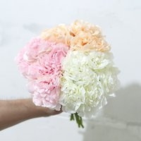 5 Head Rose Pink Silk Peony Artificial Flowers Hydrangea Bridal Bouquet for Wedding Home Decoration Party Cheap Fake Flower Faux