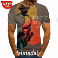 Diseñador de lujo 3D camiseta 3D hombres música camisetas 3D guitarra tshirts casual metal camisa impresión gótica anime ropa de manga corta camisetas # C20Q