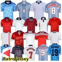 England Retro Jersey 1982 1986 1998 2002 2008 Shearer Beckham Fussball Jersey 1989 1990 Gerrard Scholes Owen 1994 Heskey 1996 Gascoigne Vintage Classic Football Shirt
