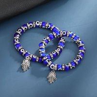 Lucky Hand Eye Strands Beaded Pendant Braccialetti perline fatte a mano perline elastici Bangle Unisex Donne da uomo Gioielli moda 1201 B3