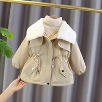 Jackets Girls 2021 Winter Coats Foreign Style Children's Padded Plus Velvet Clothes Fur Collar Clothing