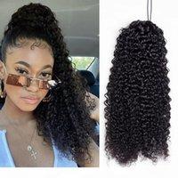 Kinky rizado cordón de caballo cola de caballo remy cabello humano 1b color brasileño cury cola de caballo pinza Afro clip en extensiones 2 peines 140g