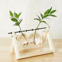 Vintage kreative hydroponische Pflanze transparente Vase Holzrahmen Coffee-Shop-Raum-Glas-Tischplatte Bonsai-Hauptdekor Blumenvase 694 K2