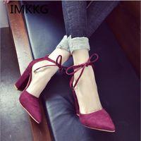 Zapatos de vestir imkkg 2021 moda mujer tacones altos damas bombas sexy fino calzado de aire femenino encaje hacia arriba S273