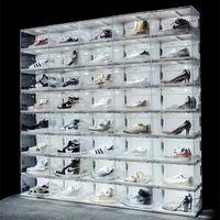 جديد التحكم في الصوت أدى ضوء الأحذية واضحة مربع أحذية رياضية التخزين المضادة للأكسدة المنظم حذاء مجموعة الجدار عرض