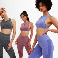 اليوغا تتسابق النساء عالية الخصر السراويل رياضة الدعاوى 2 قطعة الرياضة الصدرية مجموعة رياضية الملابس