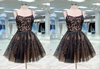 Sexy Black and Gold Short Prom Cocktail Dresses 2022 with Spaghetti Straps Tulle Ruched Beaded Sequins Homecoming Graduation Bridesmaid Evening Formal Gowns