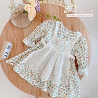 Girl's Dresses Kids Baby Girls Full Sleeve Flower O-neck Knee-length Infant Bodysuits Cute Maid Clothes Toddler Suits 2pcs
