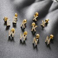 Neue Mode Mini Größe Gelbgold Überzogene Bling CZ A-Z Briefbolzen Ohrringe Für Mädchen Frauen Für Party Hochzeit Schönes Geschenk