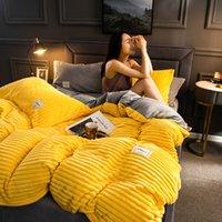 새로운 4pcs 일반 색상 두꺼운 플란넬 따뜻한 침구 세트 벨벳 이불 커버 베드 시트 필로어 홈 침대 린넨 72 S2