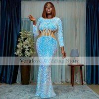 Long Sleeves Sequins Sparkly Evening Dresses 2022 Cutway Sexy African Girl Prom Celebrity Party Dress abendkleider