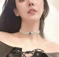 2021 new fashion double pearl diamond necklace fashion high - grade atmosphere letters clavicle chain choker chain
