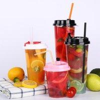700ml 24 oz Einweg-Plastikbecher kaltes Getränksaft-Kaffee Milch-Teetasse verdicken transparentes Getränk-Werkzeug mit Deckel