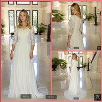 2021 Vestido De Festa white chiffon a line vintage wedding dress 3 4 sleeve lace appliques beaded sequins modest bridal gowns floor length formal muslim bride dresses