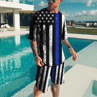 Men's Tracksuits Summer Male Casual Suit Simple Type Men's T-shirt Short Sleeve+Shorts Match The Same Color Variety Multiple America Eur