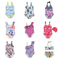 girls swimsuit one piece infant summer swimwear Children Flower print Cartoon bikini kids swim beach wear princess skirt Clothes G54IFAF