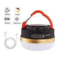 Lanternes portables LED Camping Lanterne Lanterne USB Champs de tente imperméables rechargeables avec base magnétique 3 modes éclairage pour l'extérieur