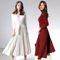 Neue Mode Frauen Gestrickte Plissee Kleid Fall Winter Langarm Dicke Pullover Kleid Lässige sexy V-Ausschnitt Schärpen