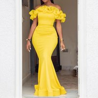 Sexy Prom Dresses Women New Designer 2022 Off Shoulder Ruffles Yellow Long Bodycon Dress Floor Length Formal Gowns