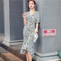 ZAWFL Fashion Summer Dresses for Women Elegant Designers Clothes Short Sleeve V Neck Floral Print Chiffon Beach Dress 210525