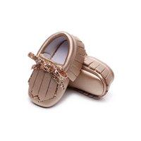 طفل حذاء طفل الفتيات الأحذية 0-1T الوليد الأحذية شرابات الأقواس الأخفاف الناعمة الأولى المشي الأحذية جلد الأميرة الأحذية B4098