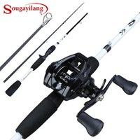 Sougayilang fundição vara de pesca bobina combo 165 cm 2 / 3sections haste de pesca de fibra de carbono com 12 + 1BB 7. Baitcasting Reel Pesca