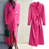Casual Dresses Nlzgmsj za women casual satin shirt dressed woman with vintage sleeve long office bow ladies midi 07 G3K2