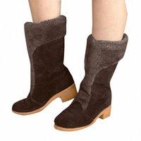 Monersfi Женская обувь Сапоги Womens Короткие сапоги Шерстяные Теплые хлопчатобумажные толщины с обувь на высоком каблуке Матовая шерсть 91SA #
