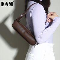 [EAM] Kadınlar Yeni Zarif Dikdörtgen Mini PU Deri Kişilik Tüm Maç Crossbody Omuz Çantası Moda Gelgit 2021 18A1948