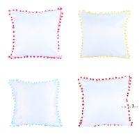Vollfarbige Kissenbezug Farbkante mit mehreren Kissenbezug Sofa weiße Kissenbezug Haarkugelkante EWF5519