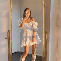 Casual Sukienki Suknia Balowa Dress Kobiety Wakacje Słodkie 2021 Lato Panie Francuski Styl Chic Ruched Rękaw Puff Party