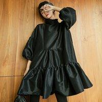 Shengpalae Pole Three четверти рукава платья для женщин Ruffled Holl Cloud Black Mini Ball Pown Trans 2021 Spring Korean FL350 210306